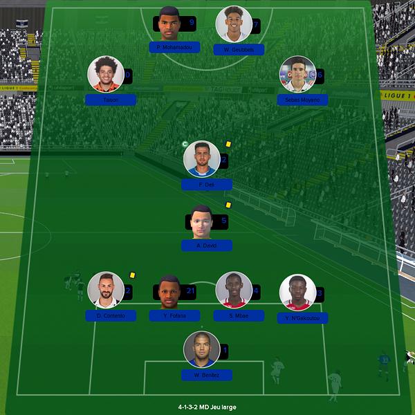 équipe ligue 1 match 14
