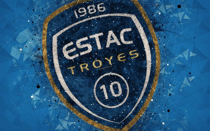 thumb2-es-troyes-ac-4k-geometric-art-french-football-club-creative-art