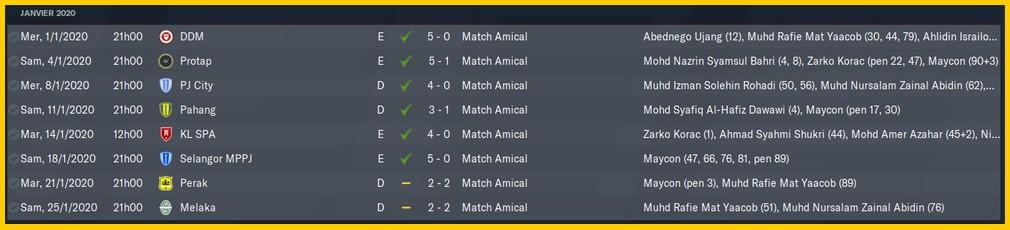 Matchs présaison