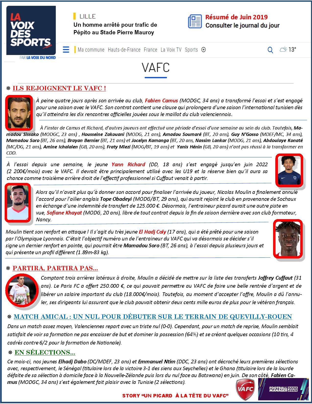 VAFC - Premier mois